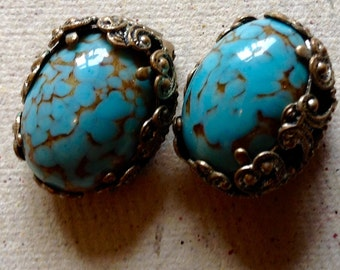 Vintage Glass Turquoise imitation Clip earrings
