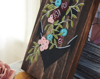 Anchor and Flowers Wooden Sign