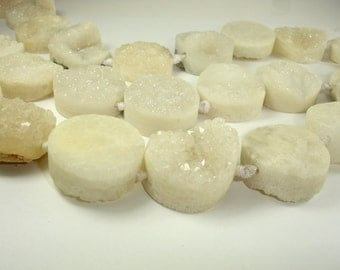 Raw White Druzy Agate Beads, 28-30 mm Coin Beads, 16 Inch, Full strand, 12 beads, Hole 2.5 mm (122008016)
