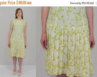 On Sale Vintage 60s MOD Cream FLORAL Sleeveless Drop Waist PLEATED Retro Midi Dress M L
