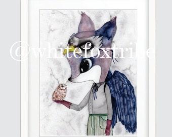 Fox Print, Owl Print, Watercolour Print, Watercolour, Nursery Wall Art, Wall Art Prints, Prints, Nursery Decor, Nursery Wall Art,Fox