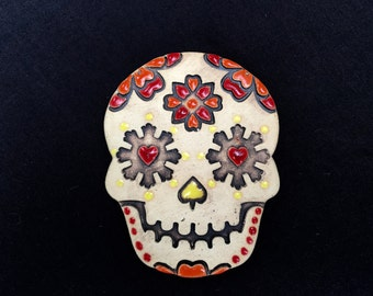 Sugar skull magnet - hand painted pottery