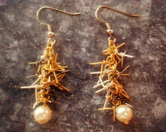 FREE SHIPPING - Pearl and Spike Earrings