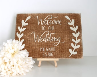 Personalised Welcome To Our Wedding Sign - Wedding Sign - Wedding Decoration - Rustic Weddings - Wedding Accessories - Wooden Wedding Sign