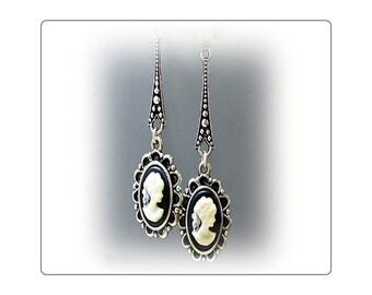 Black Cameo vintage style long drop earrings, choose your fittings