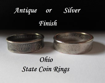 "Ohio Quarter Handmade ""SEALED"" Coin Ring ""FREE SHIPPING"""