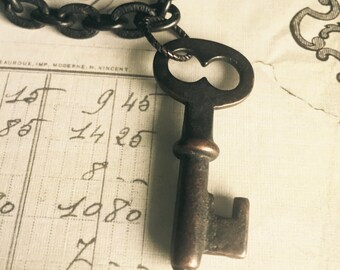 Authentic Antique Key Charm Bracelet, Victorian, century old, brass, vintage, Art Nouveau, steamer trunk, romantic, steampunk