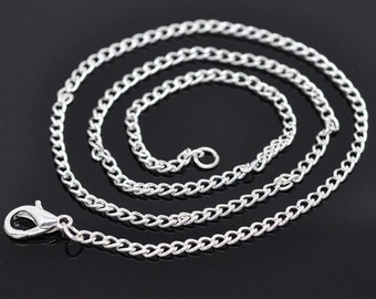 "16"" Curb chain necklace in bulk, 12 Silver Plated Lobster Clasp Link Chain Necklaces 2x3mm, 4101, 304a"