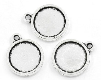 50 Two Side Cabochon Settings Fits 12mm Antique Silver, Cab Settings, 3086, 730, 304a