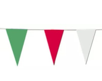 Italy Green, White and Red Fabric Bunting, ideal country football, rugby, events