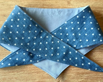 Denim polka dot dog bandana with contrasting blue fabric
