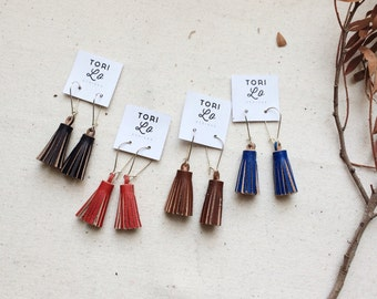 Leather tassel drop earrings.  Handmade in england