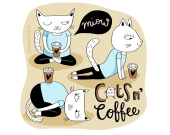 Cats n' Coffee-Cat Print-Coffee Lover-Yoga-Home Decor-Cat Lover Gift-Cute Print-Fun Print-Animal Illustration (8 X 10 in)