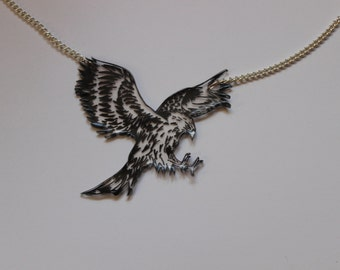 Hand drawn eagle statement necklace
