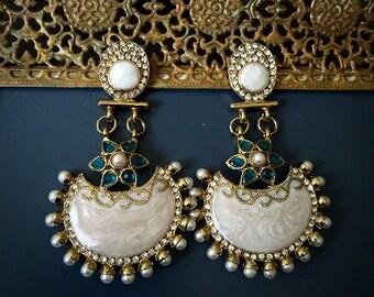 Mother of Pearl Chandelier Earrings - Teal