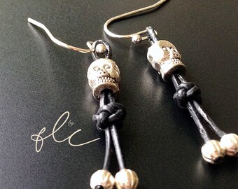 Tribal Skull Earring pair with Diamond Knotted Leather Cord on Fish Hook for Halloween