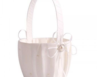 New Pearl Wedding Ceremony Party Satin Flower Girl Basket Favor Ivory....Free Shipping in US!