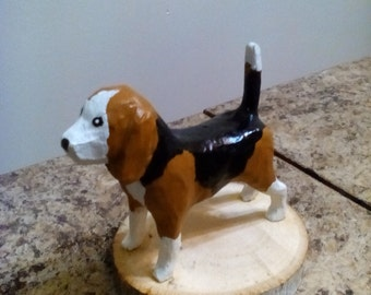 Wonderful beagle dog hand carved / sculpture