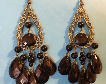 Antique gold and black beaded chandelier earrings