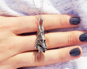 The Sleeping Bat, Silver Bat Pendant, Jewelry, Sleeping Bat, Sterlingsilver, Necklace