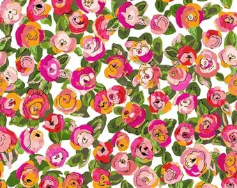 "P & B Textiles Fabric  ""Garden Fantasy""One Yard Cut.  Small floral, tonal, pink, orange"