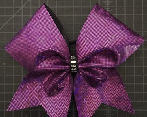 Purple Shattered Glass Fabric with Rhinestones Cheer Hair Bow