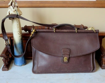 Coach Beekman Mahogany Leather Briefcase/Attache/Lawyers/Messenger Bag Laptop IPad Case - Style No. 5266 U.S.A.