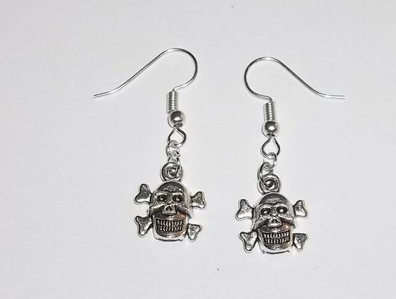 Smiling Skull & Crossbones Rocker Goth Tibetan Silver Hand Crafted Dangle Drop Earrings