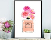 Chanel Art Print, Coco Chanel perfume, Printable Art, Chanel Bottle, Art Digital, Fashion print, Instant download
