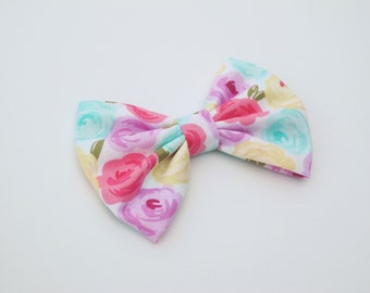 Pink, Purple, Yellow, Aqua floral hairbow