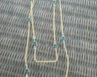 Extra Long Teal Beaded Gold Chain Necklace