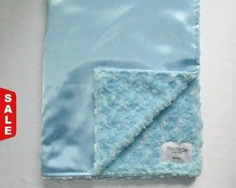 Sale -  Satin baby blue Minky blanket, Baby/Toddler blanket.