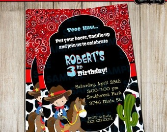 Western Invitation-Cowboy's Party-Kids Party-Little Cowboy-Cowboy Party-Western Party-Cowboy Invitations-Print your own-Bandana Invitations