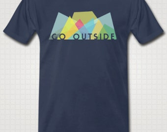 Go Outside Men's T-shirt (Navy and Grey)