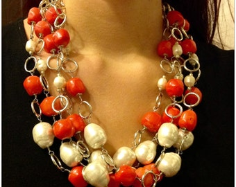 Necklace with bamboo  coral and pearls.