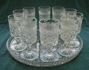10 Anchor Hocking, Wexford Pattern, Pressed Glass, Stemmed, Pedestal, Small Toasting Goblets, Wedding Set, Mid-Century, Bar Barware, Mad Men