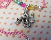 GIRLS 14 Inch Sitting FAIRY CHARM Necklace,Other Charms: Bunny Rabbit, Puppy Dog, Pegas Horse, Horse, Rocking Horse, Heart, Kitty Cat, Fairy