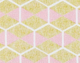 Rayon Fabric - Gold Hexablock - Cali Mod Collection by Joel Dewberry - Rayon Apparel Fabric by the Half-Yard or Full-Yard