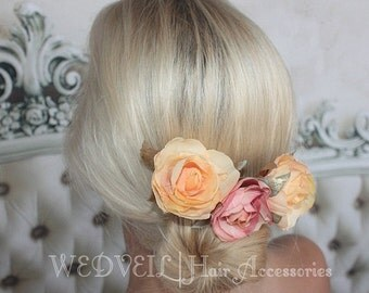 Orange Flower Hair Comb for Wedding