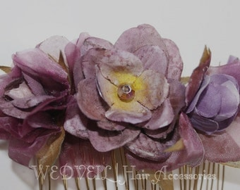 Purple Flower Hair Comb for Wedding