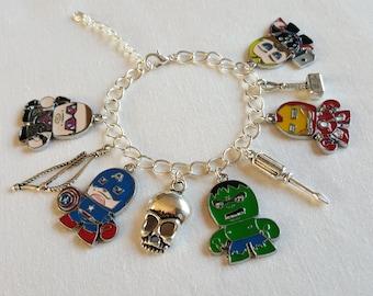 Avengers, Iron Man, Captain America, Thor, Hulk, Hawkeye, handmade charm bracelet