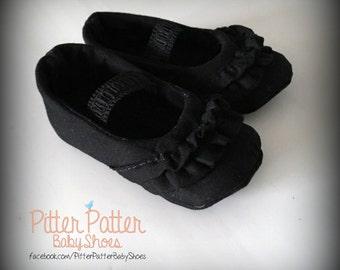 Black Baby Shoes - Black Crib Shoes - Black Girl Shoes - Black Ruffled Shoes - Baby Girl Gift -Baby Shower Gift -Baby Gift -Black Soft Shoes