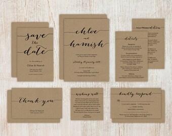 Rustic Kraft Wedding Invitation Set   Build Your Own Suite