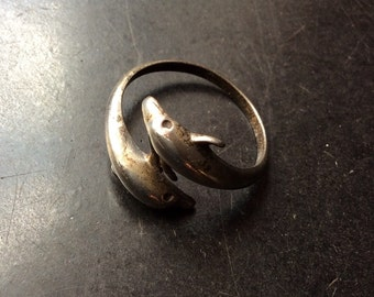 TWO DOLPHINS Vintage RING- Very Origonal-hand made- Sterling silver
