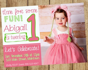 Bright Pink Green 1st First Birthday Bday Invitation Invite Girl Party