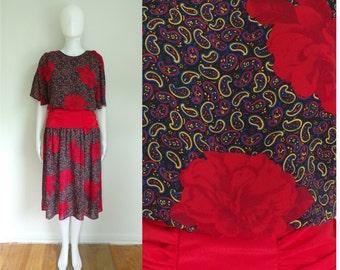 40%OffJune23-26 70s blouson dress size small, floral paisley print a-line dress, 1970s lightweight preppy day dress, retro dolman sleeves