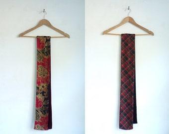 silk front, velvet back scarf, paisley scarf, plaid scarf, tartan scarf, fall scarf, winter scarf, red black brown burgundy