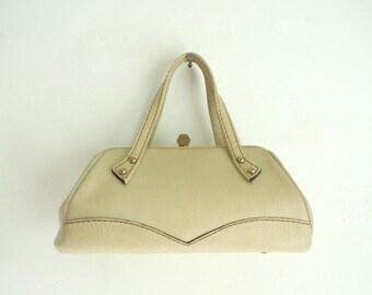 60s leather bag, leather evening bag, 1960s mad men purse, taupe bag, frame top letisse bag, small fancy bag, minimalist trapezoid bag