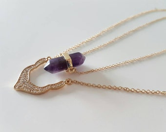 Gemstone Necklace Amythyst Necklace Gold Chain Necklace Purple pendant necklace Amythyst jewelry gemstone Necklace