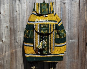 Mexican Mochila Backpack Green and Yellow
